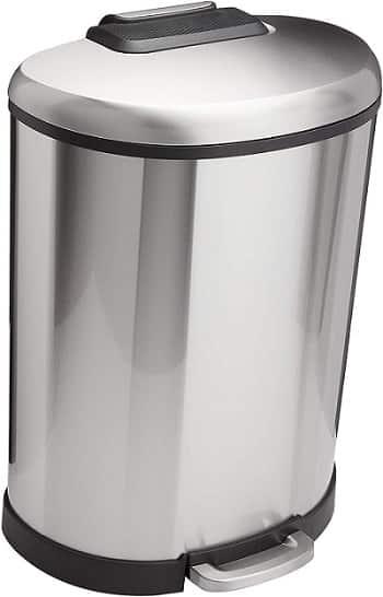 AmazonBasics D-Shaped Soft-Close Trash Can