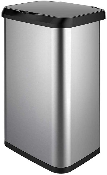 GLAD Extra Capacity Stainless Steel Sensor Trash Can