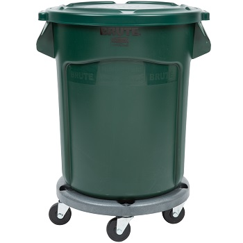 Rubbermaid BRUTE 20 Gallon Trash Can with Lid and Dolly
