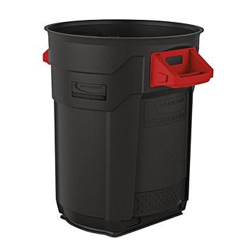 Suncast BMTCU20 20 Gallon Gray Round Commercial Trash Can