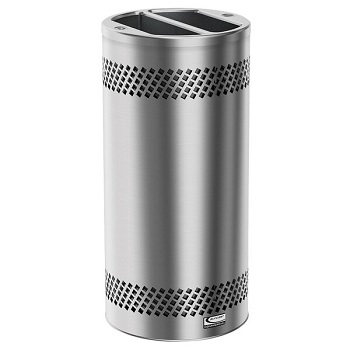 Suncast MTCSS1503 Accent Series 20 Gallon Stainless Steel Decorative Indoor Trash Can with Split Top