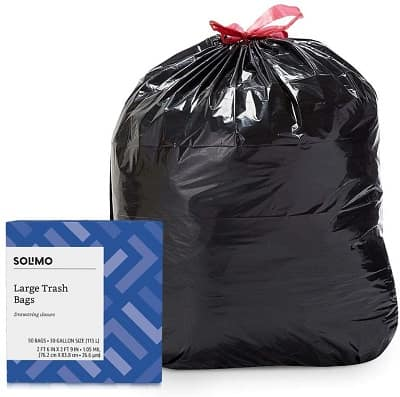 Amazon Brand - Solimo Multipurpose Drawstring 30 Gallon Trash Bags, 50 Count