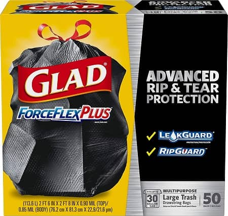 Glad ForceFlexPlus Black Large Drawstring 30 Gallon Trash Bag, 25 Counts