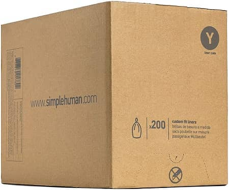 simplehuman, White Code Y Custom Fit Drawstring 30 Gallon Trash Bags, 115 Liter, 200 Count