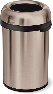 Simplehuman 115 Liter -30 Gallon Bullet Open Top Trash Can For Kitchen, Heavy Gauge Brushed Stainless Steel